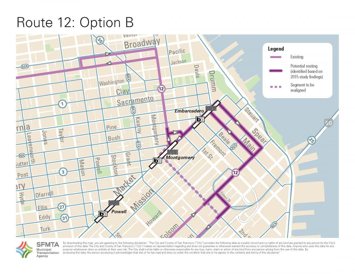image of Option B that uses Market to get to Sansome