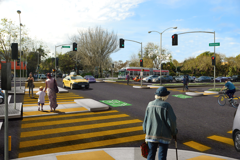 Rendering shows proposed street-level crossings at Geary and Steiner.
