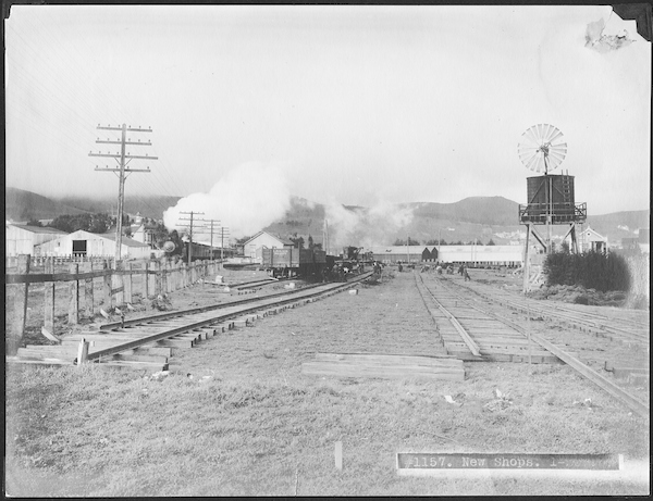 New Shops at Elkton with Southern Pacific Train Passing Elkton Station in Background | January 25, 1907