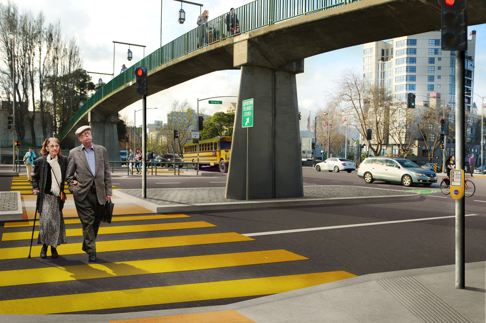 Rendering showing proposed street-level crossings at Geary and Webster streets.