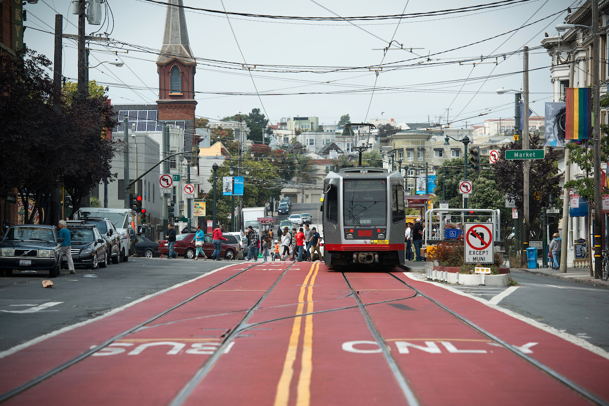 J Church on transit only lane at Church and Market