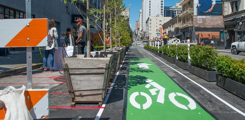Taylor Street Quick Build bike lane