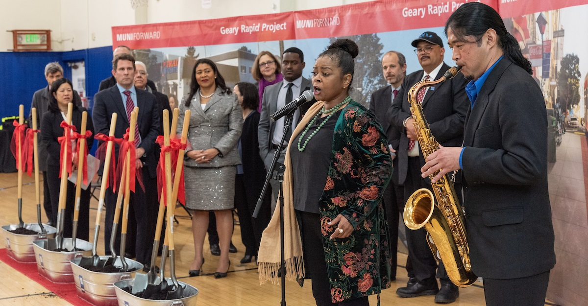 "Liz Lane, who cultivated her talent at the historic Third Baptist Church, accompanied by Japanese-American saxophonist Masaru Koga performing ""Lift Every Voice and Sing."""