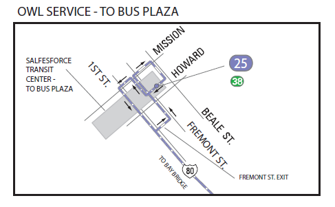 Map of 25 Treasure Island new Owl service to Salesforce Transit Center