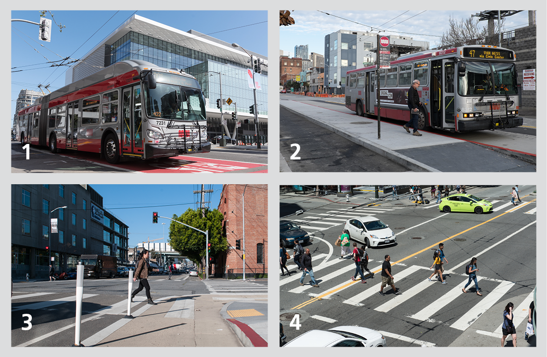 Photo of phase 1 project features: improved transit-only lane, bus boarding islands, painted safety zones, upgraded crosswalks
