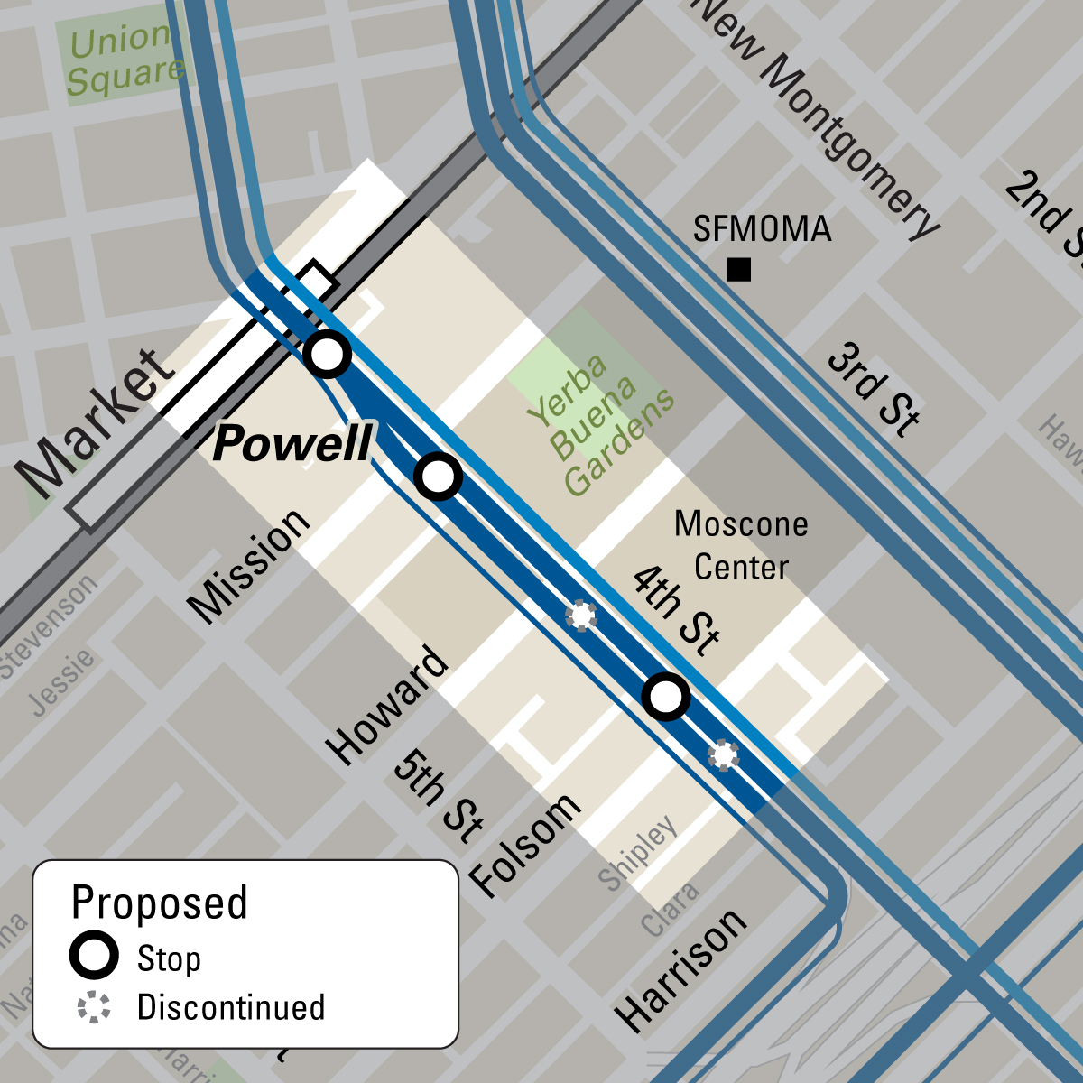Map showing proposed stop changes combining the Howard and Folsom stops into one stop at the future central subway station