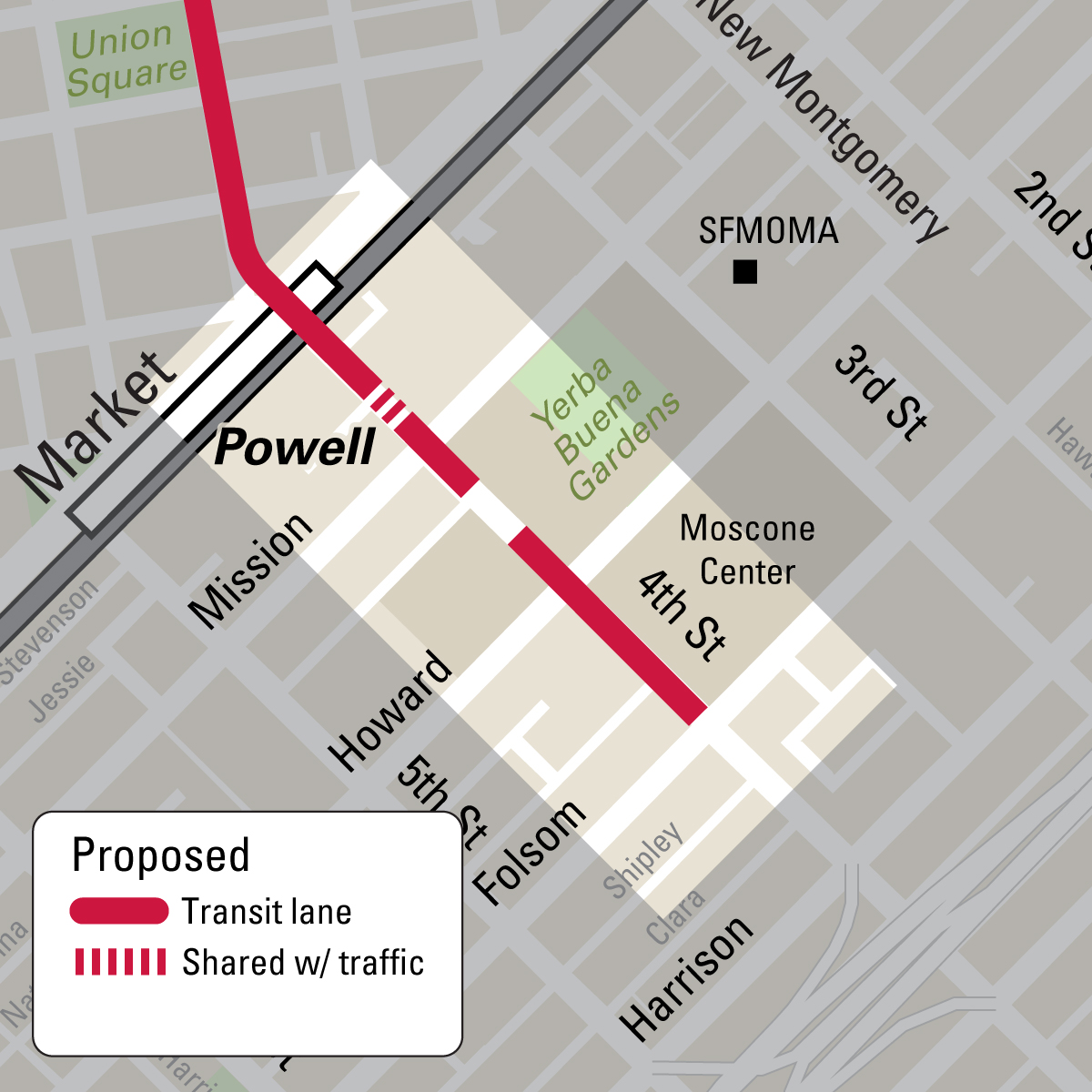 Map of proposed transit lane from Market to Folsom on 4th Street
