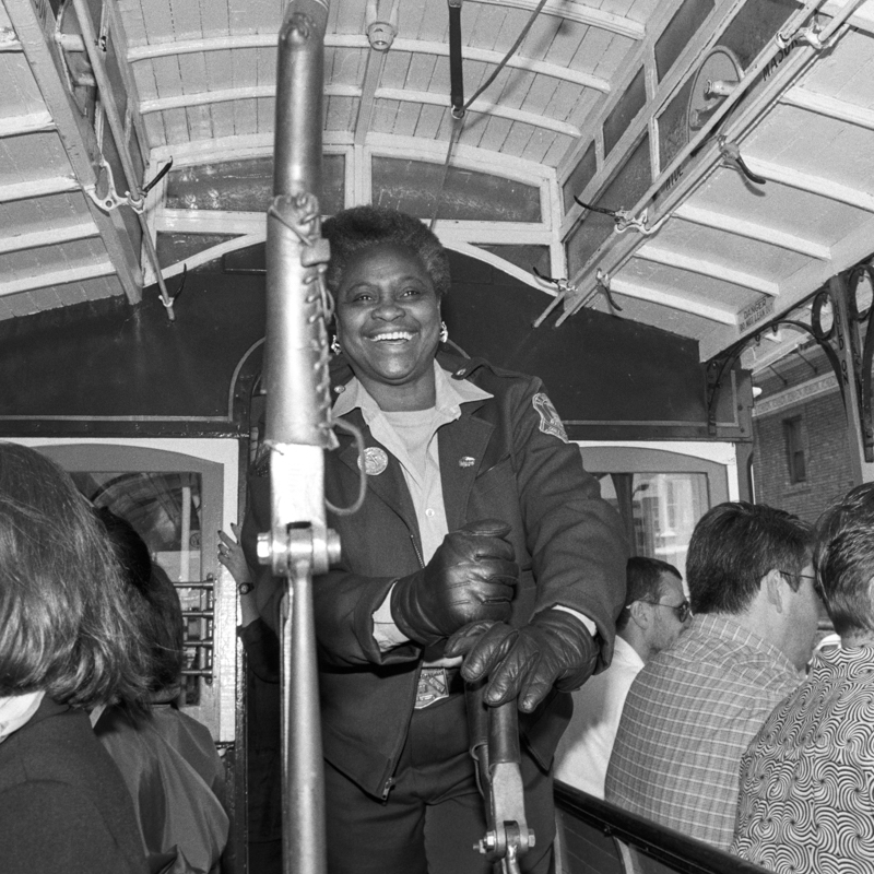 Fannie MAe Barnes operating a cable car.