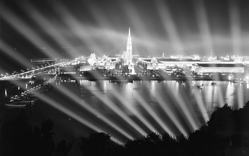 night view of treasure island with GGIe fair and lights