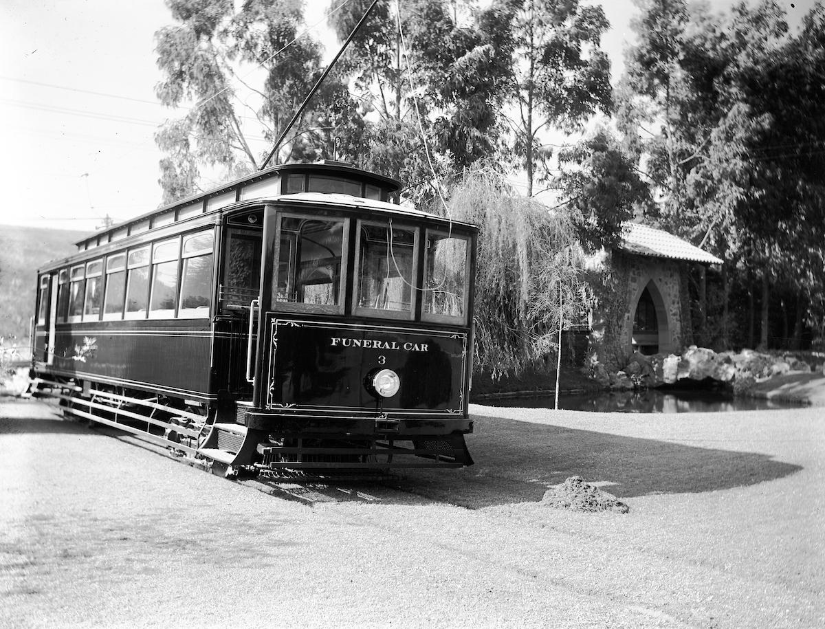 streetcar inside cemetery