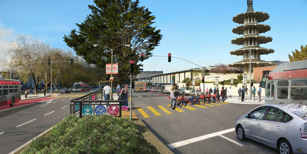 Rendering of proposed improvements on Geary at Buchanan.