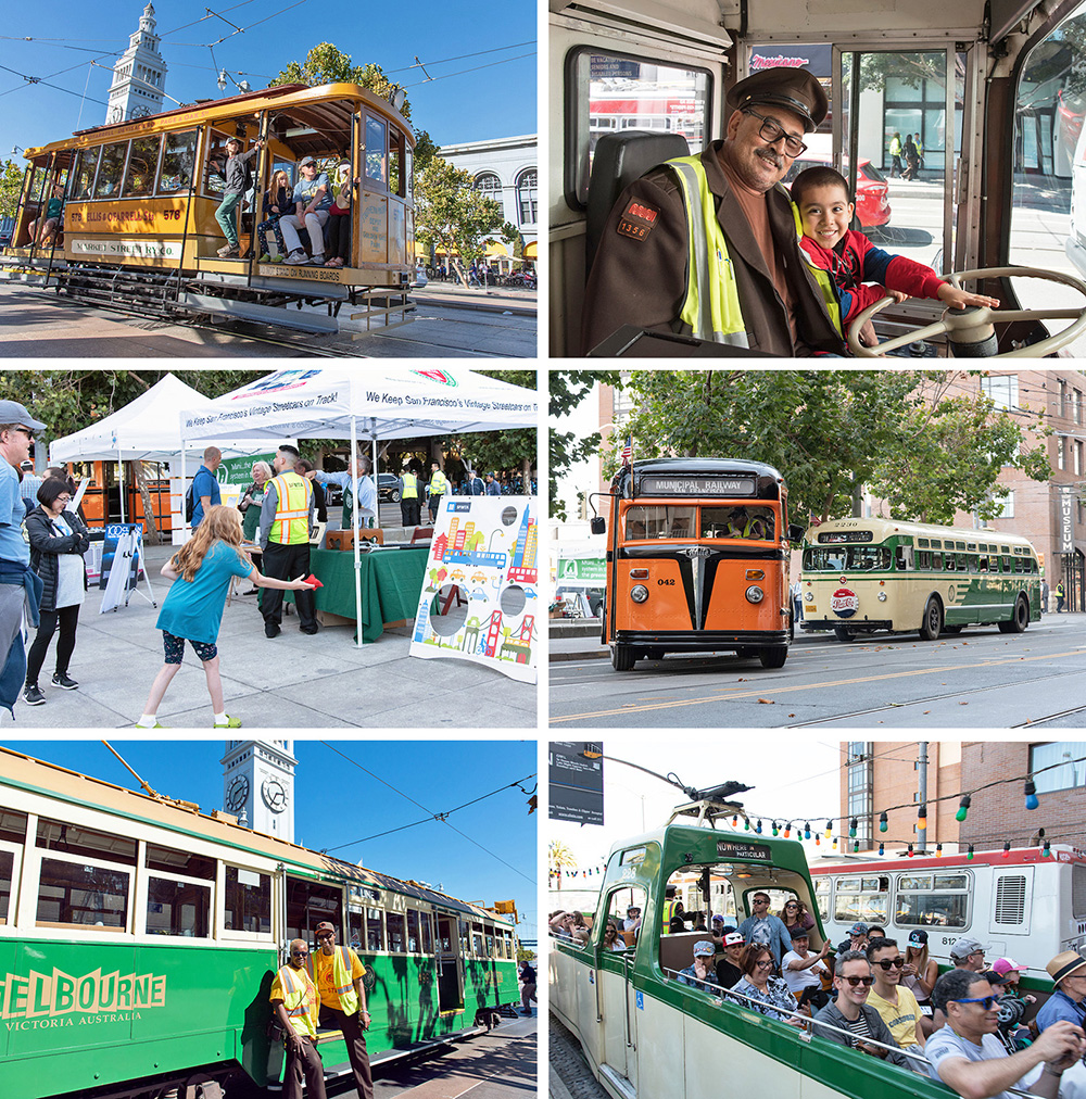 A collage of events and special streetcars and buses at Muni Heritage Weekend in San Francisco.