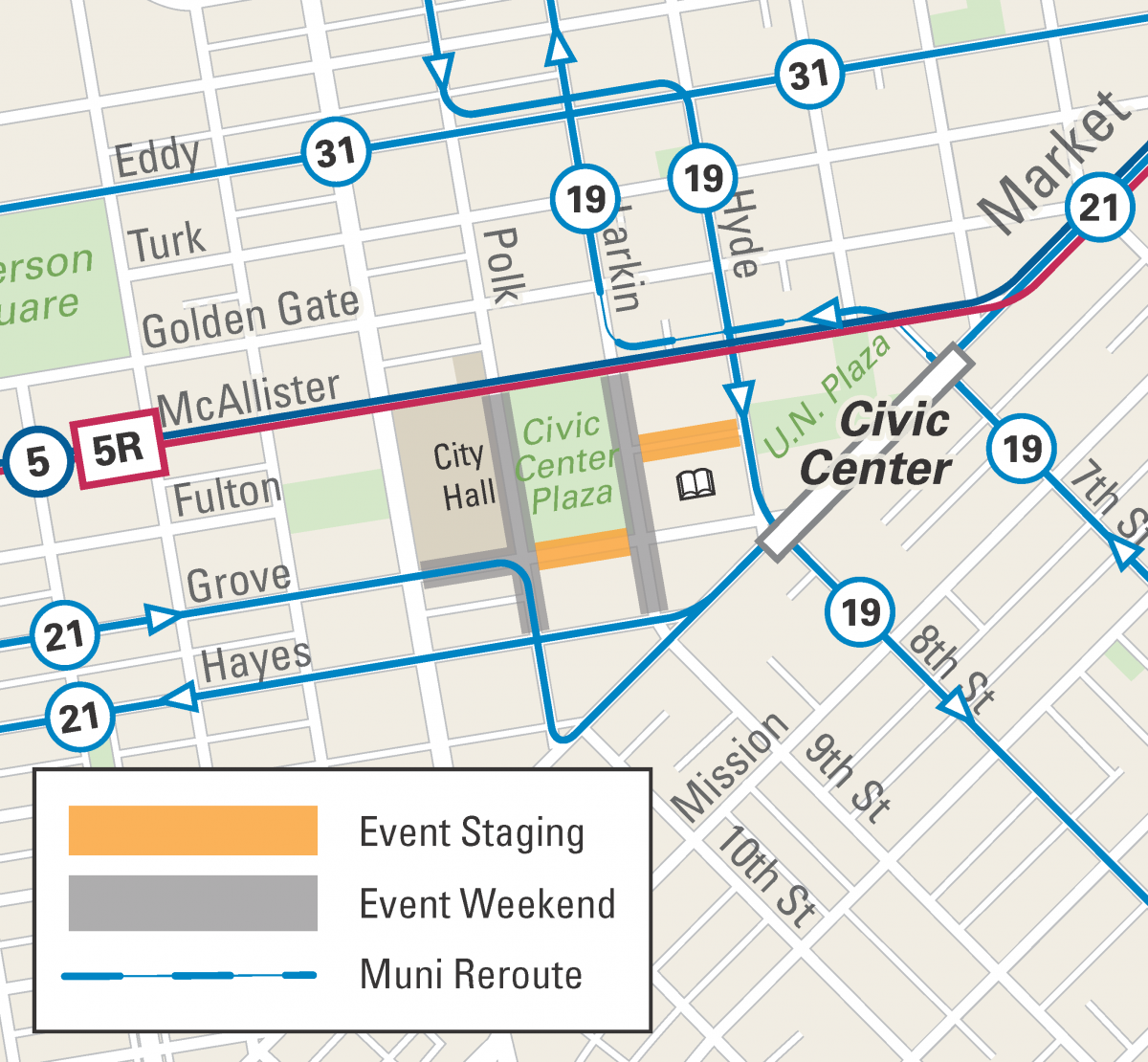 Map of street closures and Muni reroutes for Clusterfest