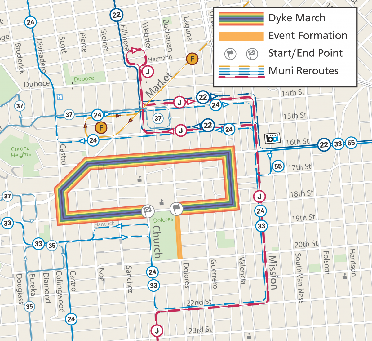 Map of March Route and Muni Reroutes for Dyke March 2019