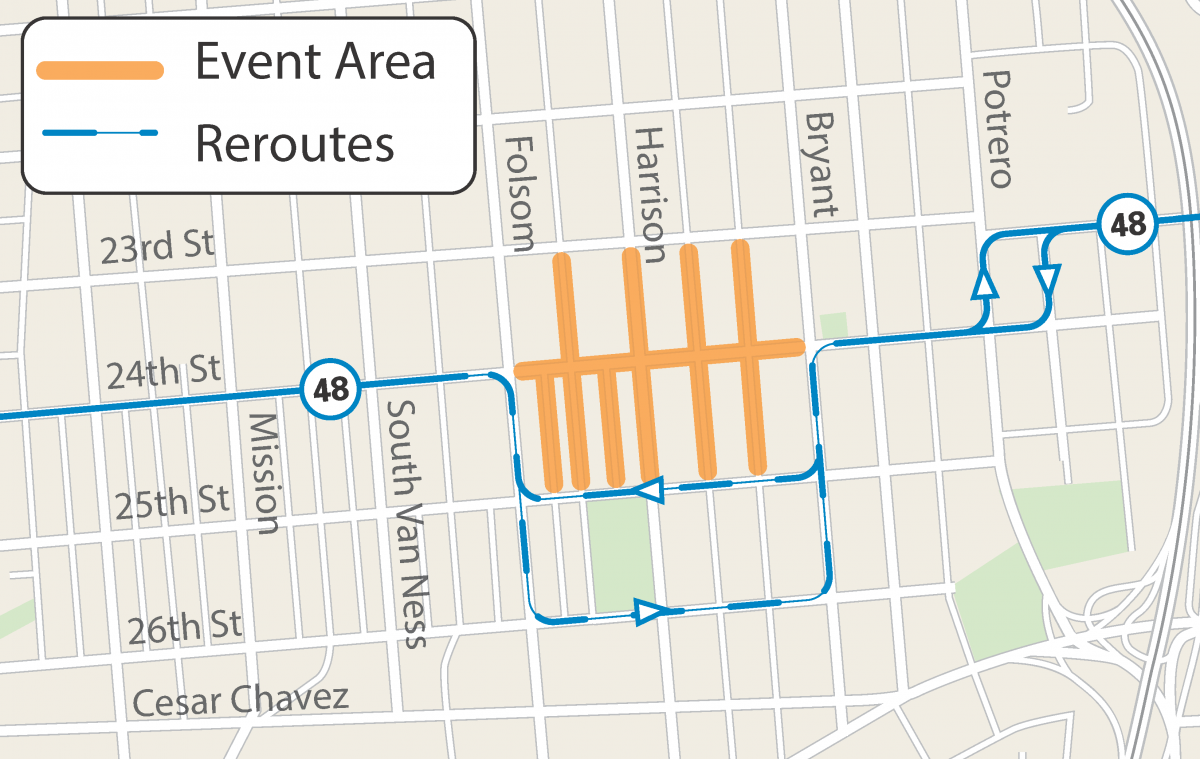 Map of street closures and Muni reroutes for the 2019 Festival of the Americas