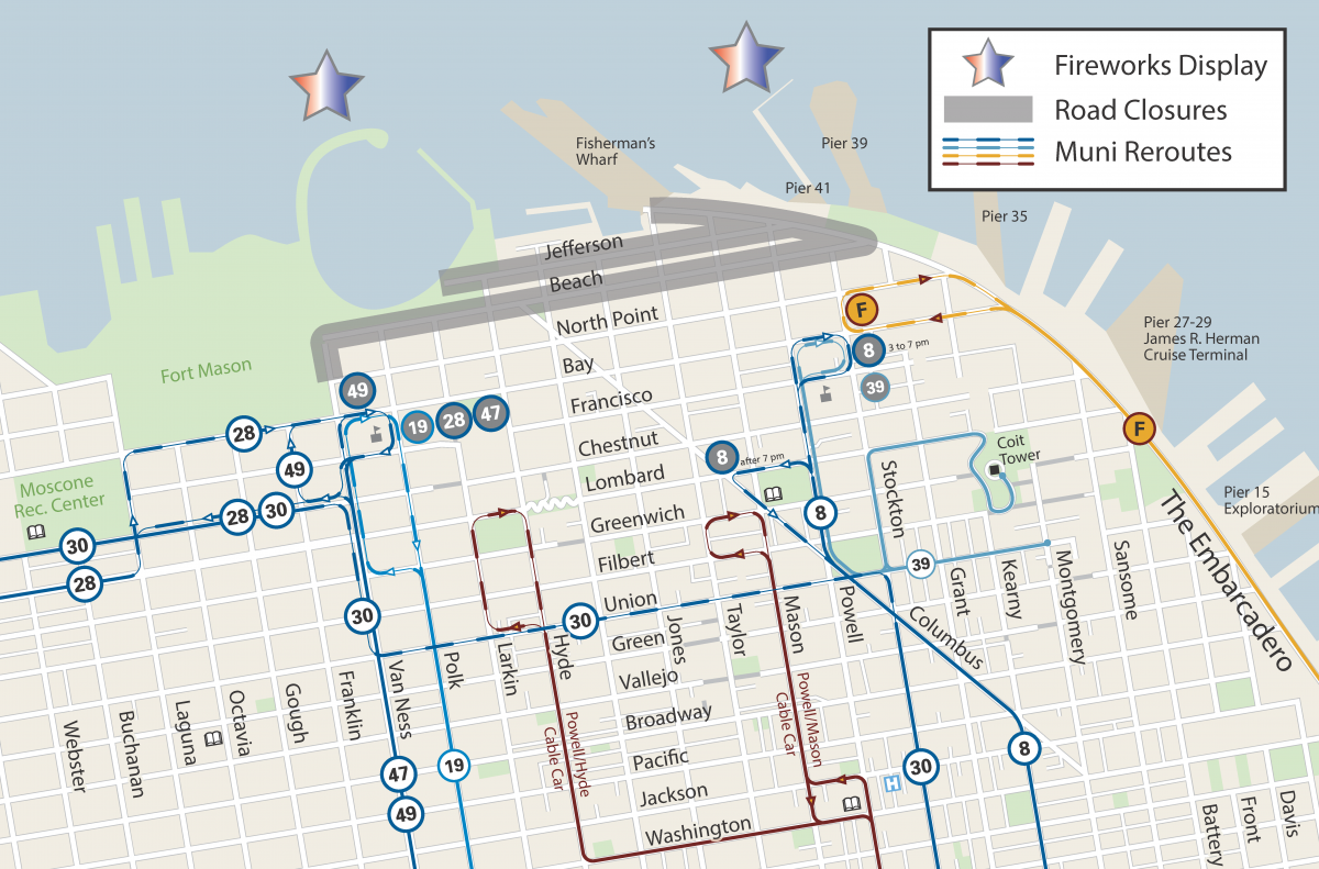 Muni Reroutes for the July 4th Holiday.