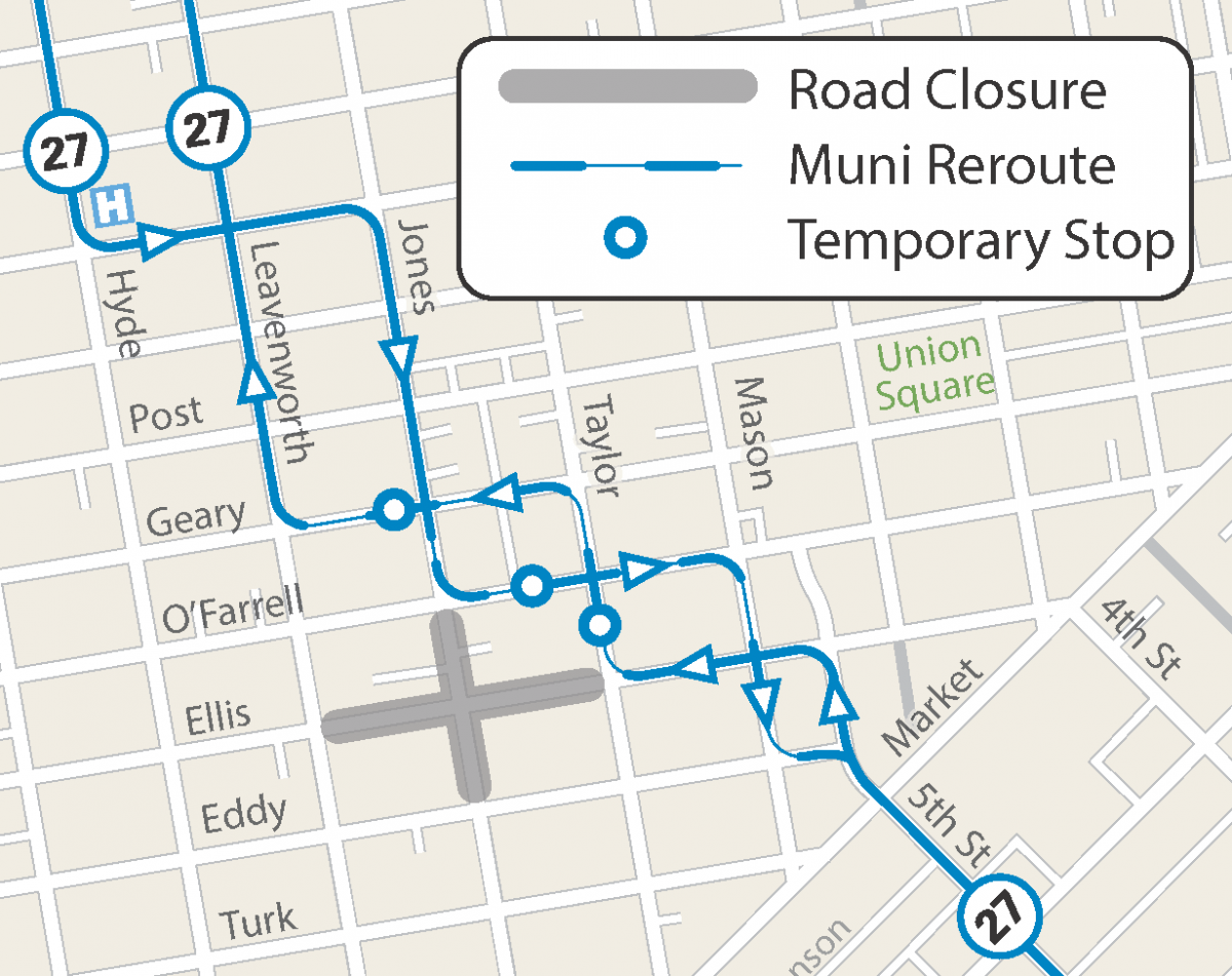 Map of street closures and Muni reroute for the GLIDE Church Holiday Grocery Giveaway