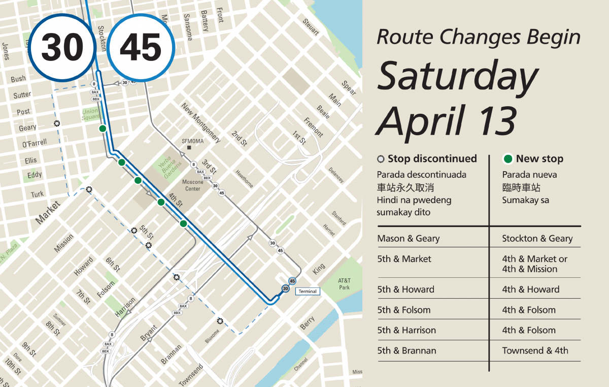 Map restored 30 and 45 stops along Stockton and 4th streets.