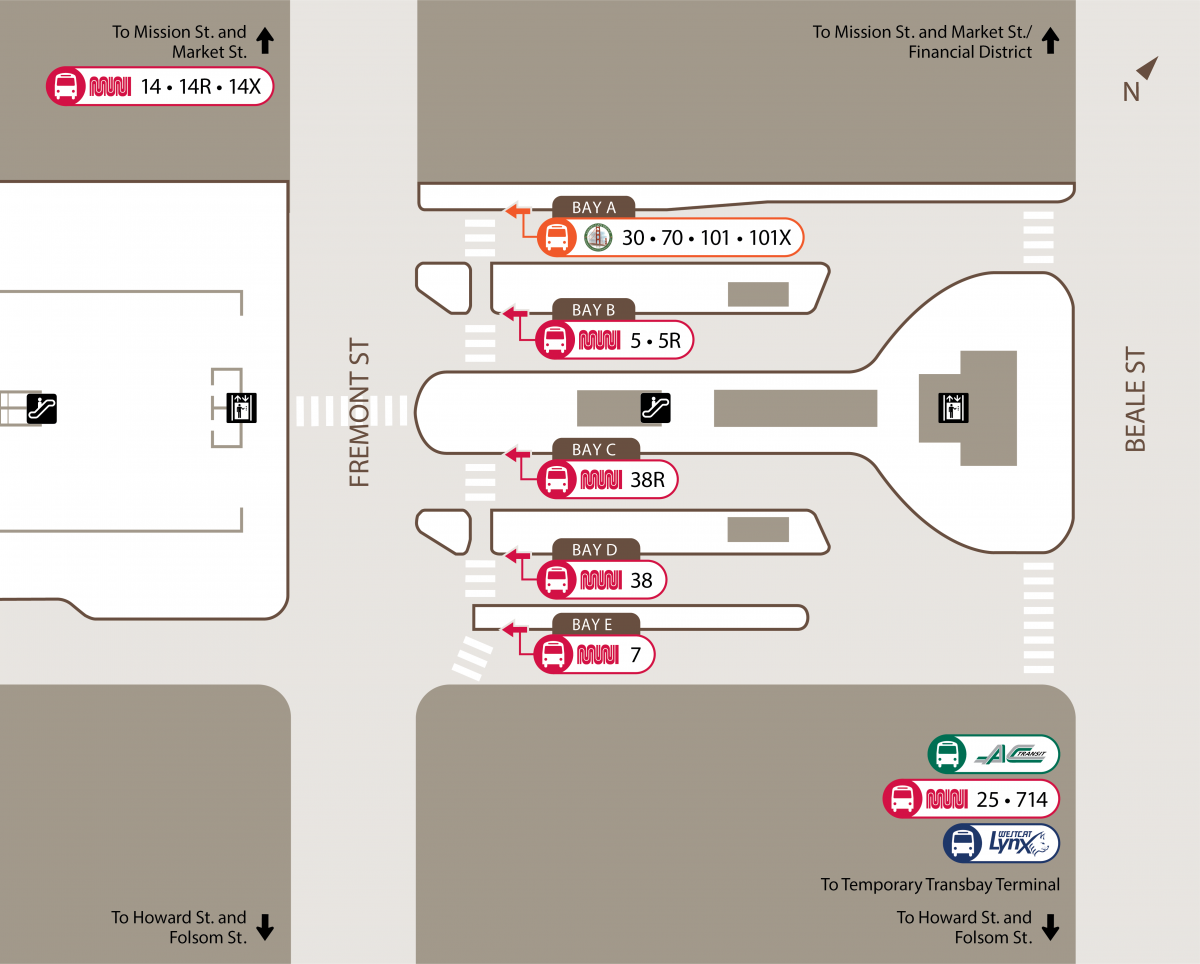 Diagram of transit Center Bus Plaza Bays