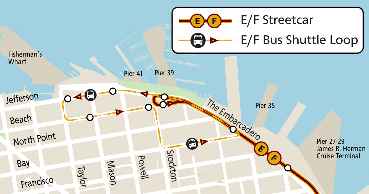 Map of E/F shuttle loop to Fisherman's Wharf