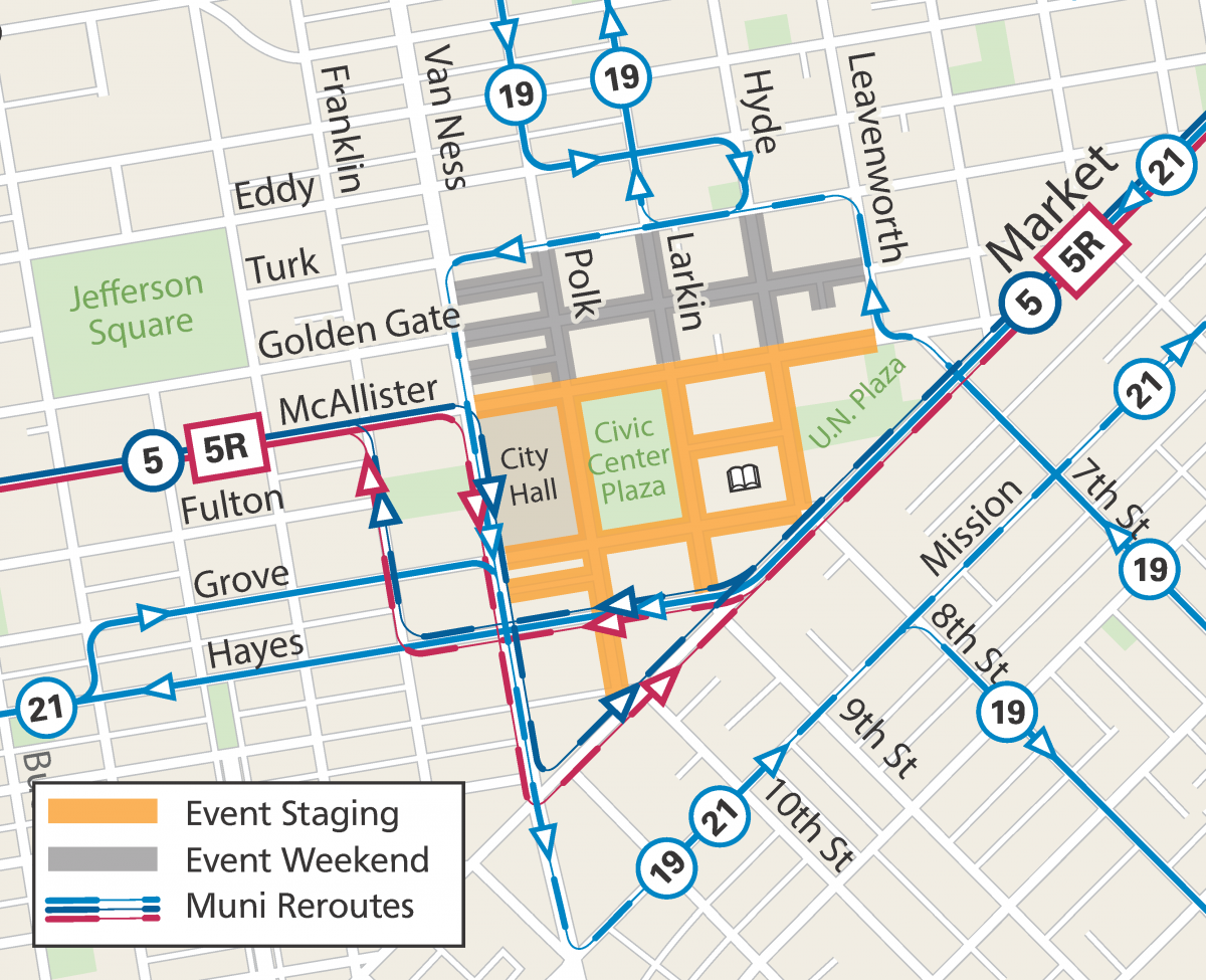 Map of Pride Festival Street Closures and Muni Reroutes