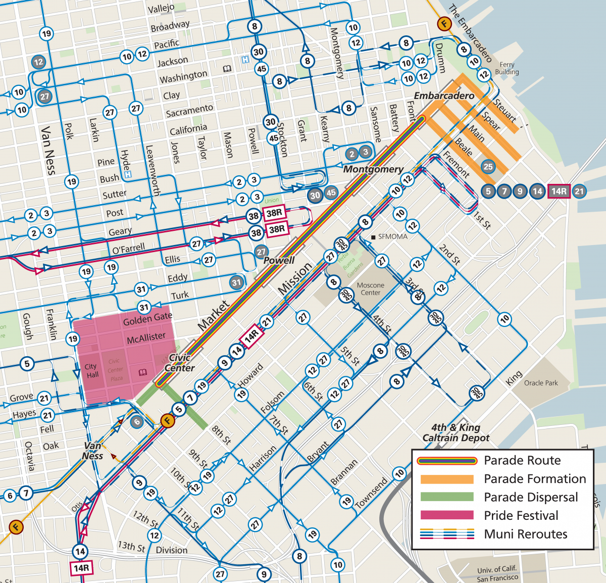 Map of street closures and Muni reroutes for the Pride Parade.