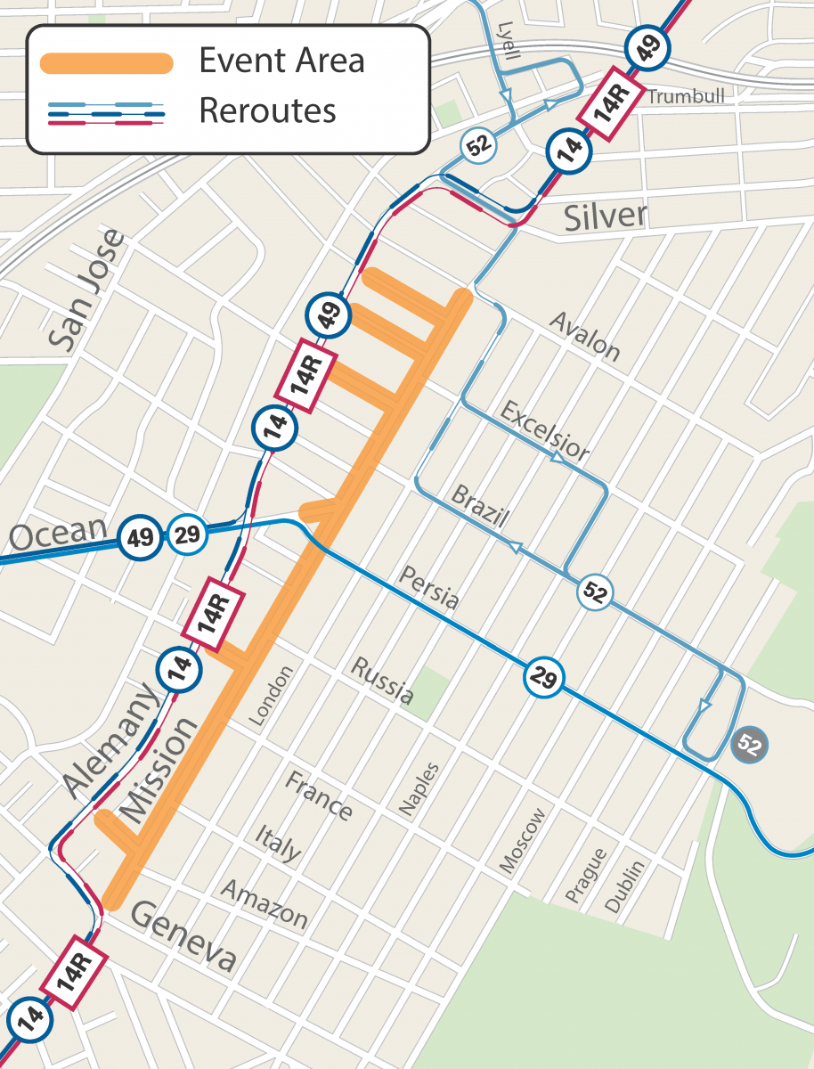 Map of street closures and Muni reroutes for Sunday Streets Excelsior