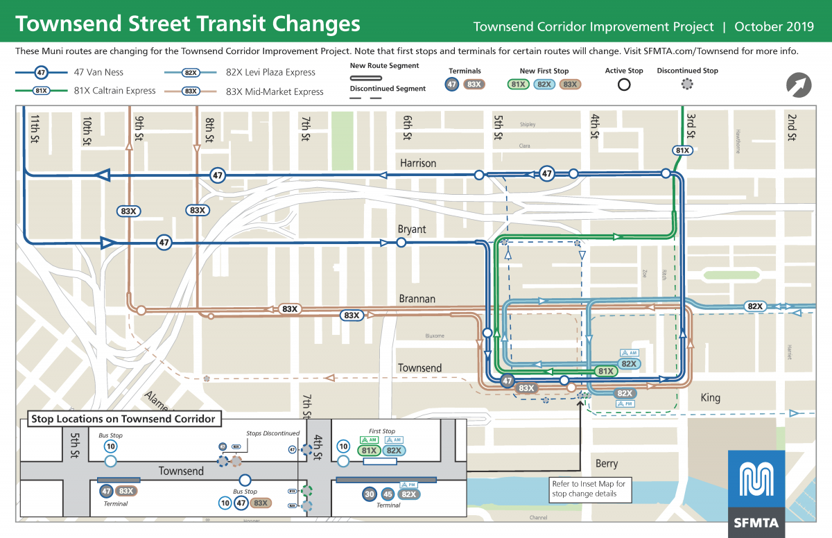 Map of route and stop changes near the Caltrain depot for the Townsend Street Improvement Project.