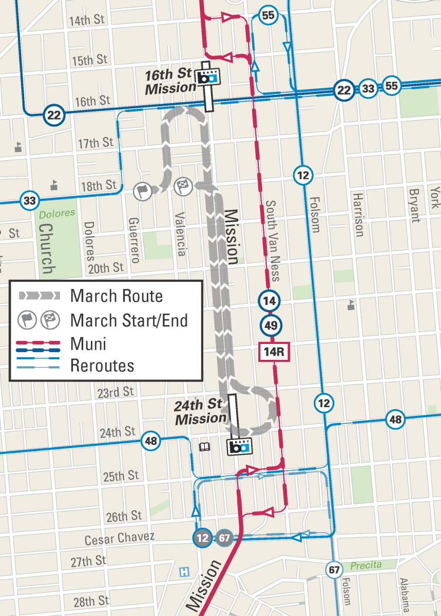 Map of march route and Muni reroutes for the Walk Against Rape 2019