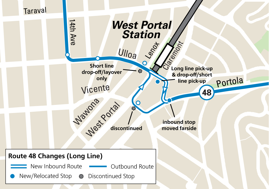 Map of new routing and stop changes near West Portal Station for the 48 long route.
