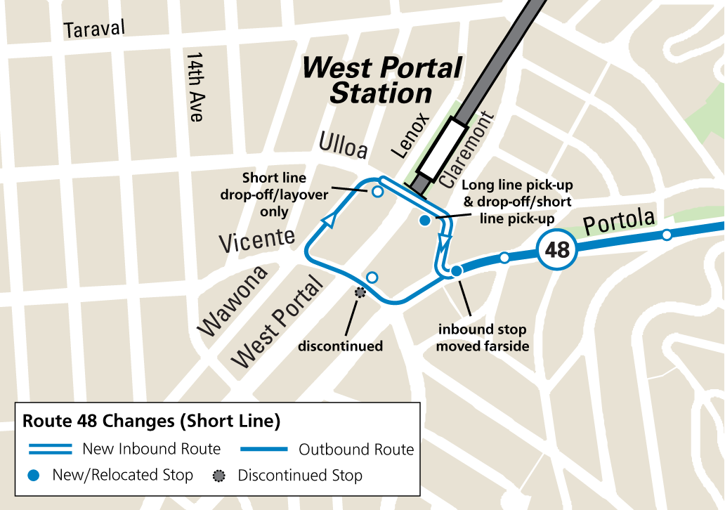 Map of new routing and stop changes near West Portal Station for the 48 short route.