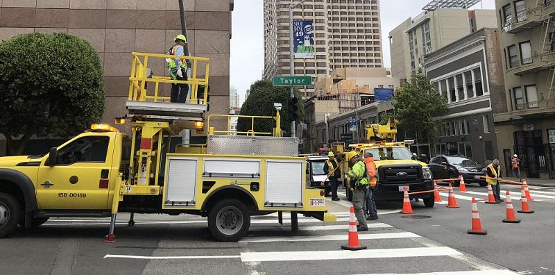 Crews working on Taylor Street