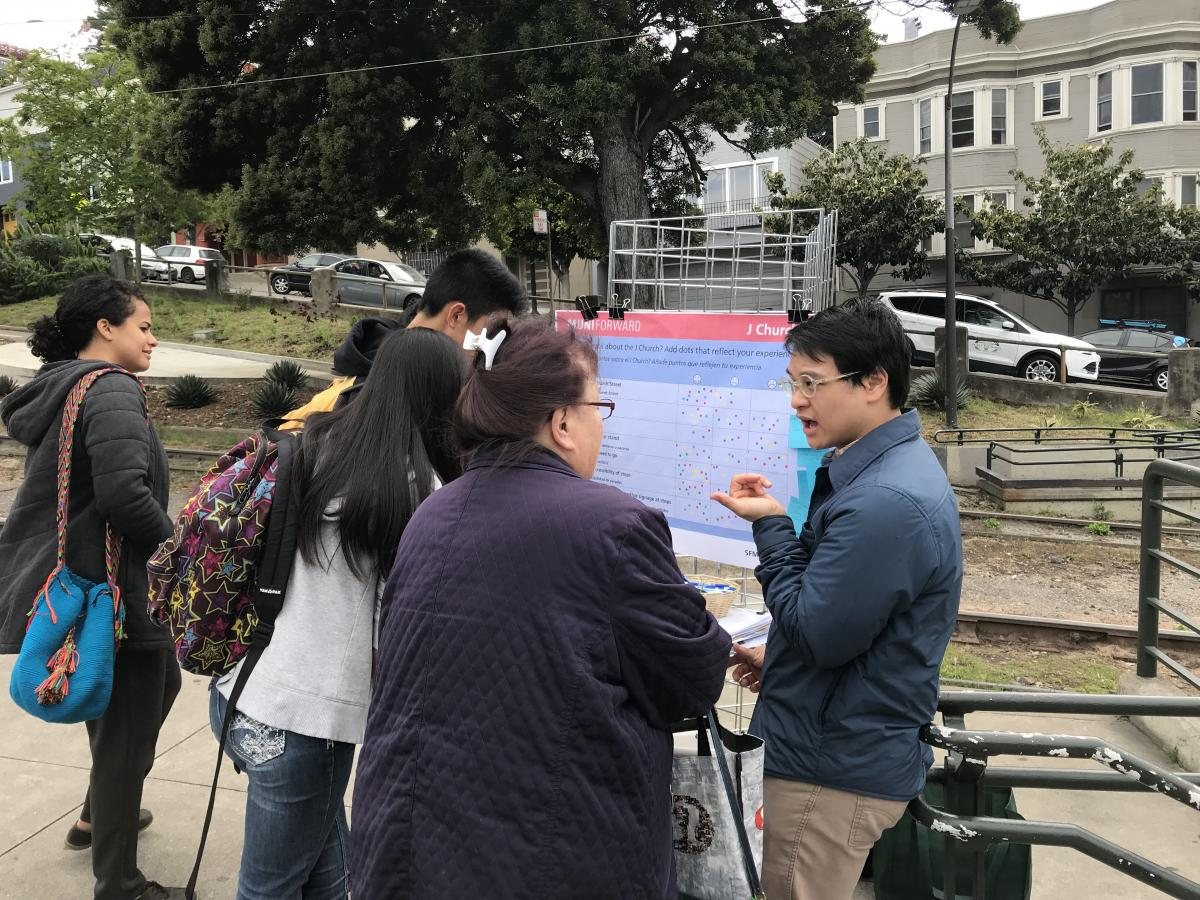 Community members providing input to staff at 18th and Church inbound stop