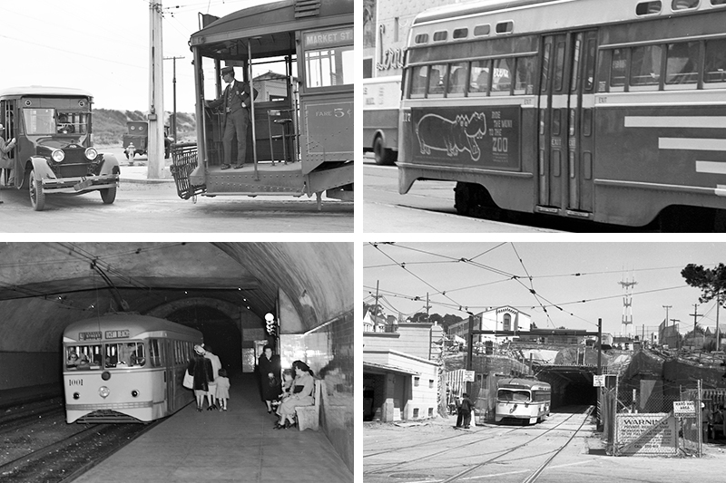 Various scenes on the L Taraval line over the years including an electrically powered streetcar on Taraval near Great Highway in the 1920s and the reconstruction of the West Portal of the Twin Peaks Tunnel in the 1970s.