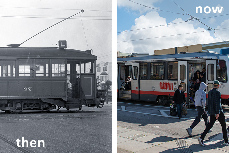 Two contrasting views of the L Taraval then and now. On the left is the L in the 1920s and on the right the L in present day with a light rail vehicle.