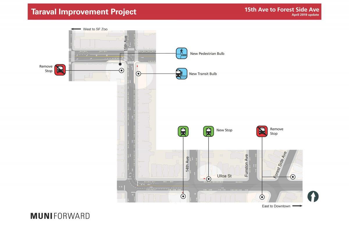 15th Avenue to Forest Side Avenue stop changes, new transit bulb and pedestrian bulb locations