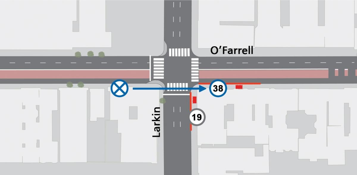 Rendering of bus stop relocation inbound at O'Farrell and Larkin that is relocating to the east side of the intersection