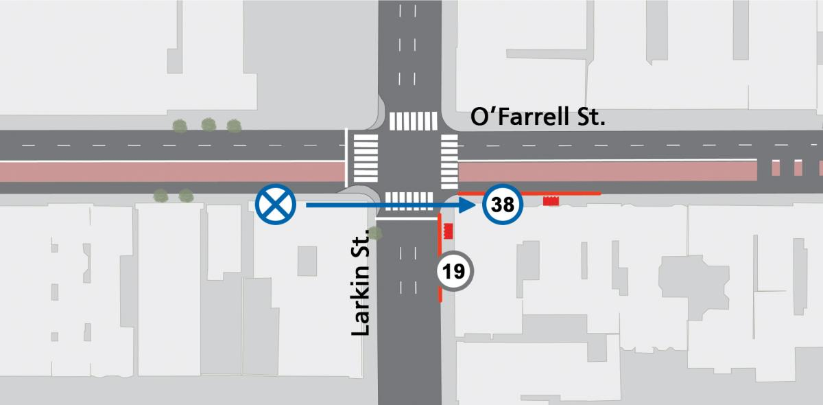 Image shows inbound 38 bus stop relocation at O'Farrell and Larkin streets. The stop will be permanently relocated to the east side of the intersection beginning October 25