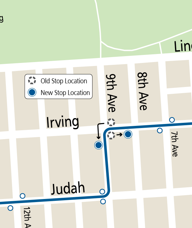 Map of stop changes at Irving & 9th Ave