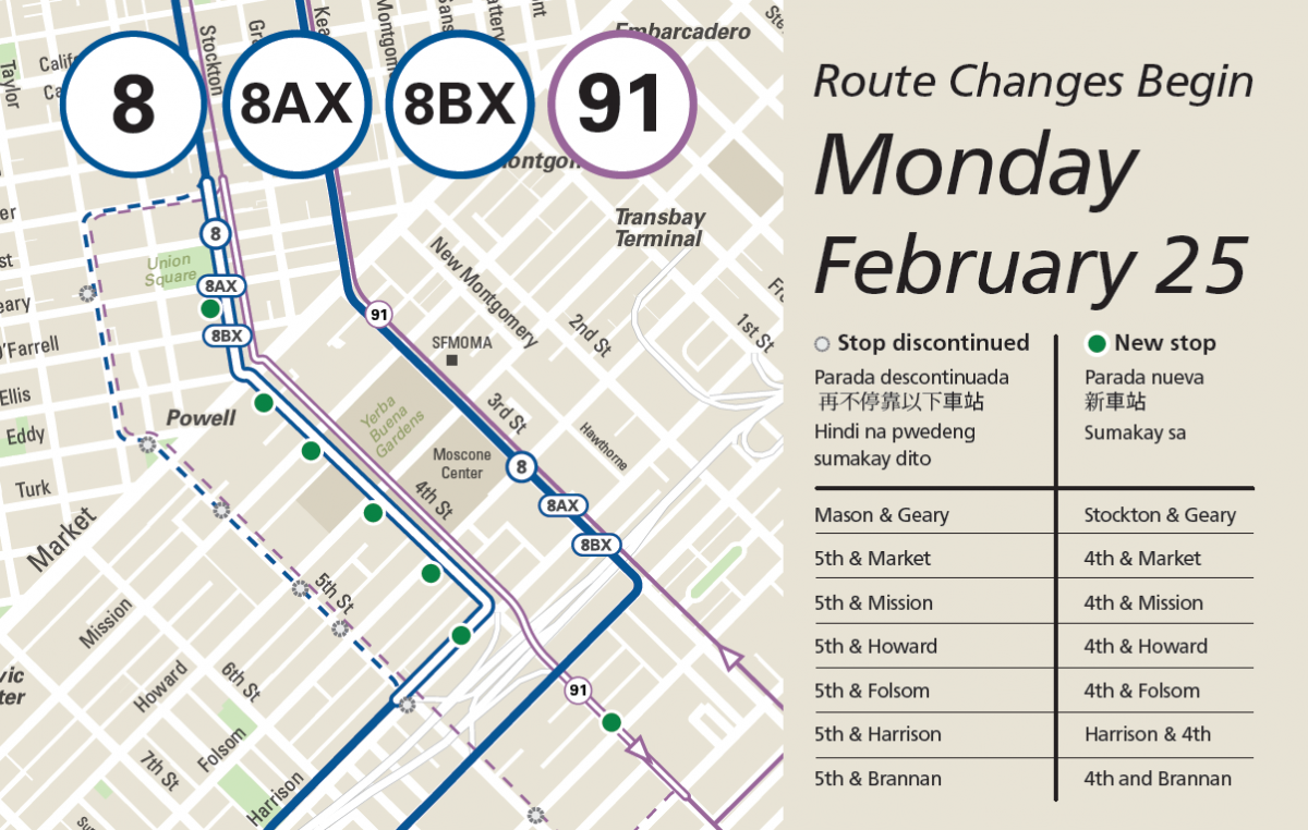 Map of changes to the 8 Bayshore and 91 OWL routes beginning on Monday, February 25.