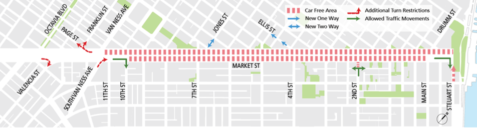 Map of car free Market Street east of 10th Street. Vehicles can still cross Market at intersections.