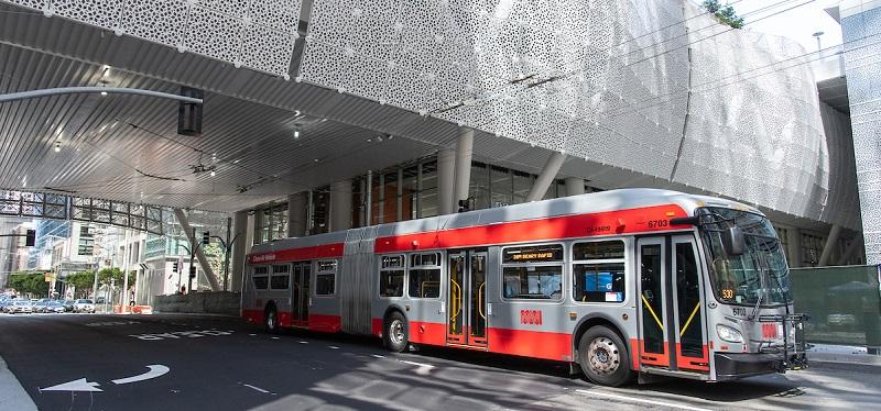Bus at the Salesforce Transit Center