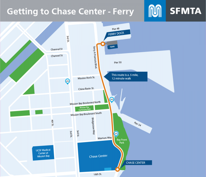 Map of Pier 48 to Chase walking route