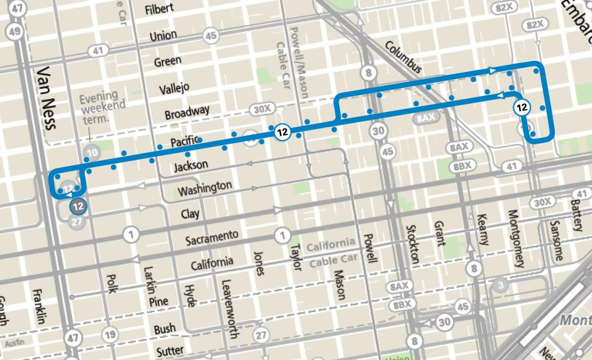 Map of the 12 Folsom/Pacific route operating between the Financial District and Nob Hill, between Battery and Van Ness