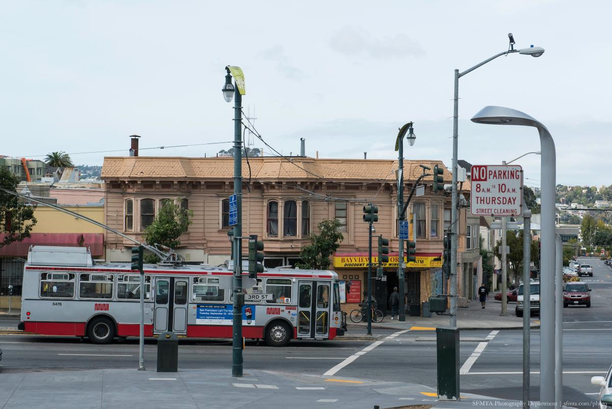 Muni bus on 3rd Street in Bayview