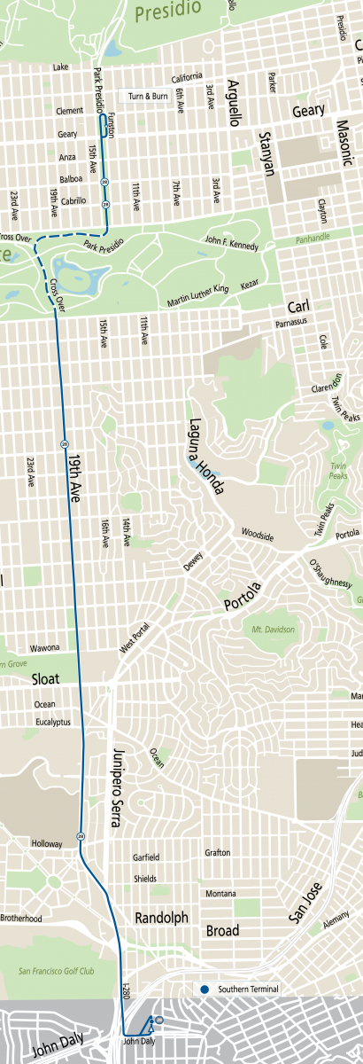 Map of 28 19th Avenue operating between Daly City BART and the Inner Richmond