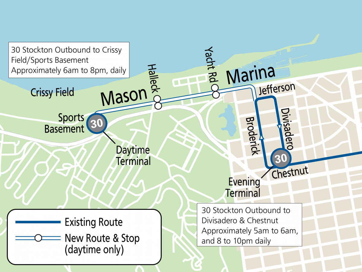 Map of 30 extension to Crissy Field