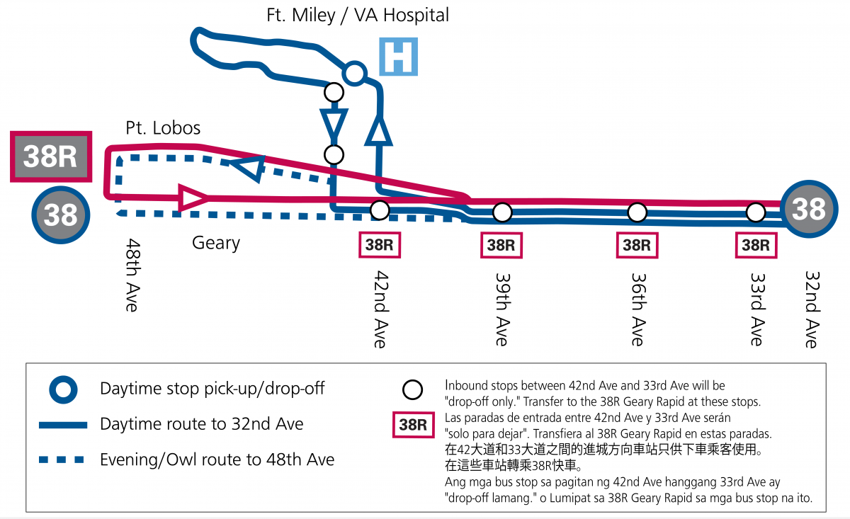 Modified map of the 38 and 38R terminals at Ft Miley and 48th Ave in the Outer Richmond.