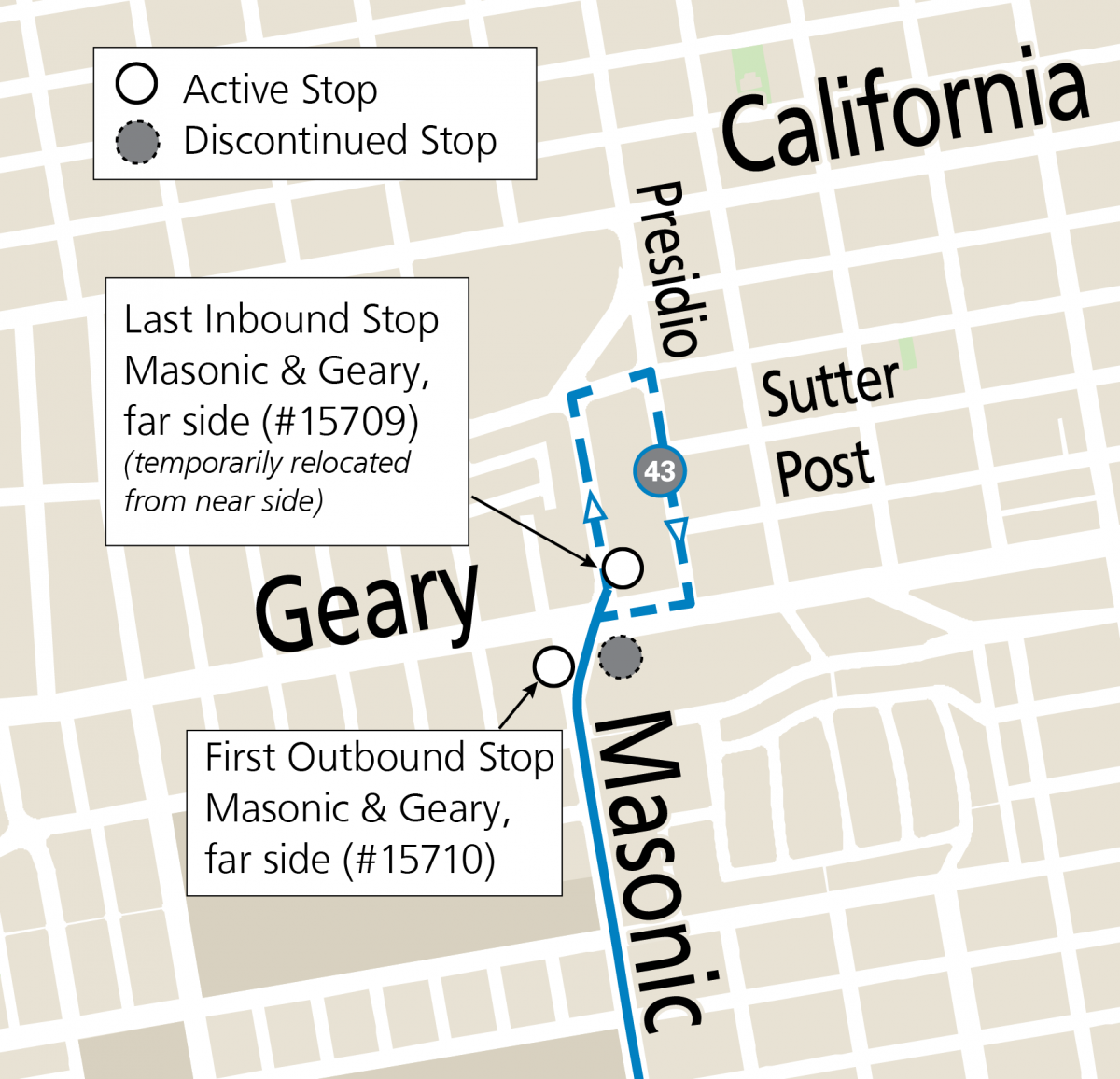 Modified map of the 43 Masonic showing the stops at Masonic & Geary and the northern terminal loop to Presidio & Sutter