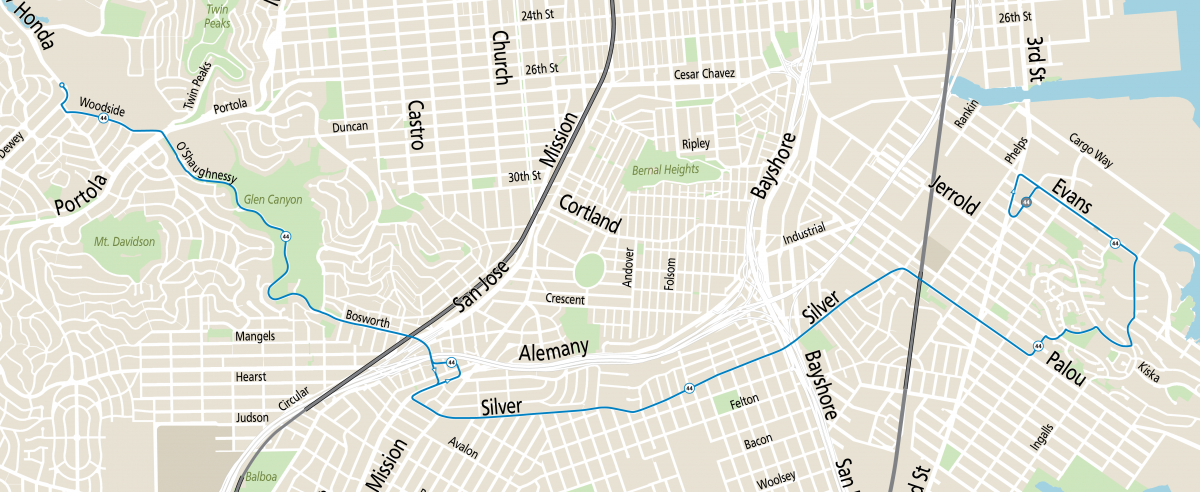 Modified map of the 44 O'shaughnessy showing routing between Forest Hill Station and Hunters Point